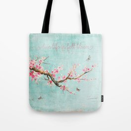 Live life in full bloom - Romantic Spring Cherry Blossom butterfly Watercolor illustration on aqua Tote Bag
