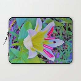 Beautiful White Trumpet Lily with Yellow Center Laptop Sleeve