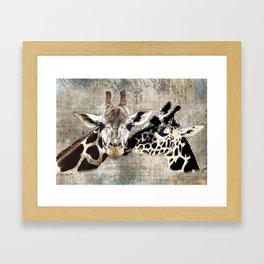 Snuggle Bug Giraffes Framed Art Print
