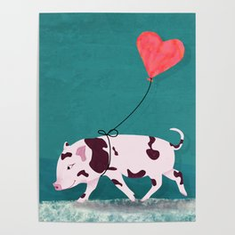 Baby Pig With Heart Balloon Poster