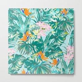 Bird of Paradise Hawaii Rainforest Tropical Leaves Pastels Metal Print