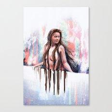 Beside the Wall She Stood Canvas Print