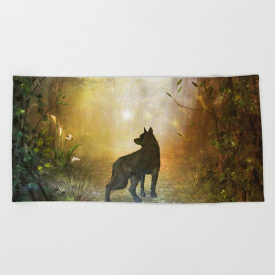 The lonely wolf Beach Towel