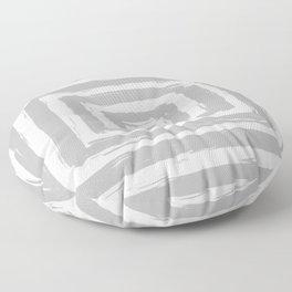 Minimal Light Gray Brush Stroke Square Rectangle Pattern Floor Pillow