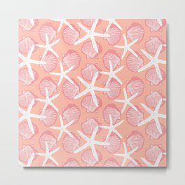 Sea Scallops & Starfish in Peach, White & Pink Tones Metal Print