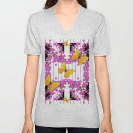 White Color Yellow Butterflies & Pink Flowers Black Unisex V-Neck