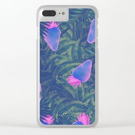 Neon Strawberries in the Night #1 Clear iPhone Case