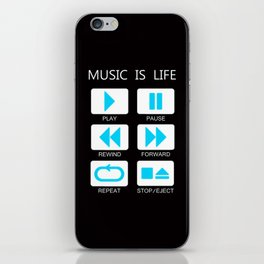 Blue Light Music Button iPhone Skin