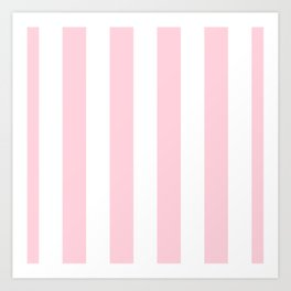Light Soft Pastel Pink Beach Hut Stripes Art Print