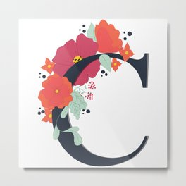 Floral Letter C Metal Print