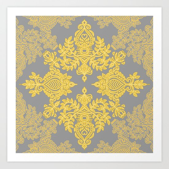 Golden Folk - doodle pattern in yellow & grey Art Print