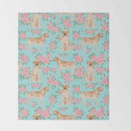 Yellow Labrador Retriever dog breed pet portraits floral dog pattern gifts for dog lover Throw Blanket