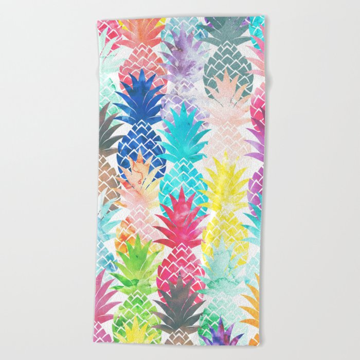 Superieur Hawaiian Pineapple Pattern Tropical Watercolor Beach Towel