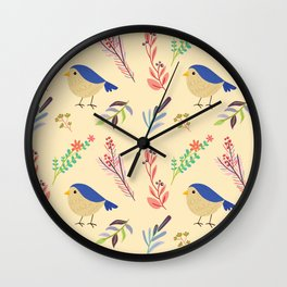 Cute hand painted blue coral ivory bird floral pattern Wall Clock