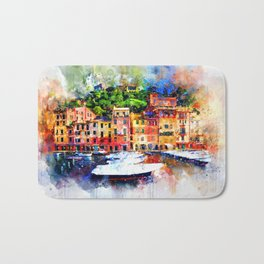 Watercolor painting pier Bath Mat