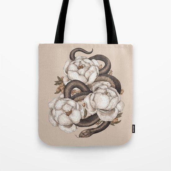 Snake and Peonies Tote Bag