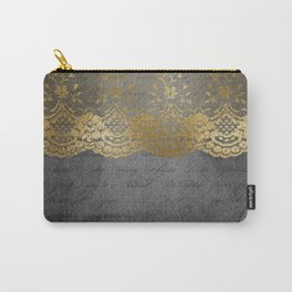 Pure elegance I- gold glitter luxury lace on black grunge background on #Society6 Carry-All Pouch