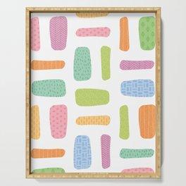Organic Textured Bricks in Pastel Hues (pattern) Serving Tray