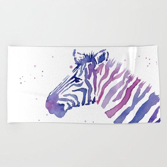 Zebra Watercolor Purple Stripes Animal Beach Towel