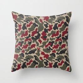 CUSTOM ARMY & BURGUNDY CAMO 5 Throw Pillow