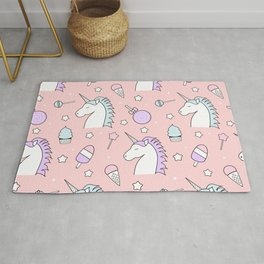 pattern background unicorn, candy, lollipop, ice cream, stars Rug
