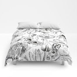 rabbits and flowers parties Comforters