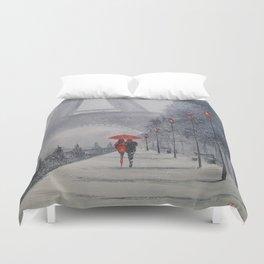 Paris in the snow Duvet Cover