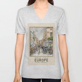 Venice Italy Street in the Rain, Travel Poster Unisex V-Neck