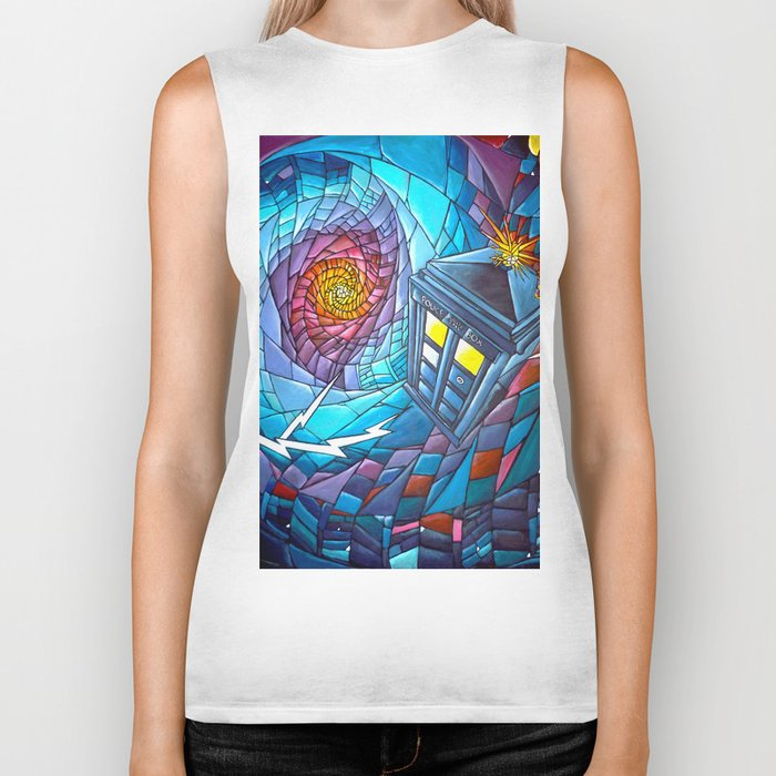 Tardis stained glass style Biker Tank