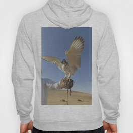 Falconer With Hooded Falcon In The Desert Hoody