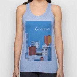 Cincinnati, Ohio - Skyline Illustration by Loose Petals Unisex Tank Top