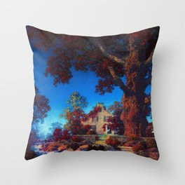 The Little Stone House under the Red Oak Tree by Maxfield Parrish Throw Pillow