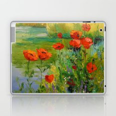 Poppies by the pond Laptop & iPad Skin