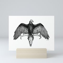 The Omen - Eerie Turkey Vulture on Stag Skull Bird Ink Illustration Mini Art Print
