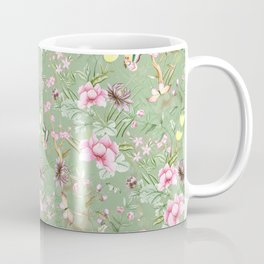 Vintage & Shabby Chic Chinoserie Pastel Spring Green Flowers And Birds Garden Coffee Mug