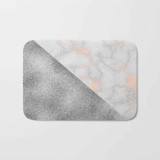 Rose gold marble and silver glitter Bath Mat