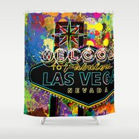las vegas Shower Curtains featuring Welcome to Las Vegas by Gary Grayson