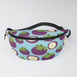 Tropical mangosteen fruit pattern on the blue background Fanny Pack