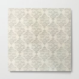 Beige Watercolor Damask Pattern Metal Print