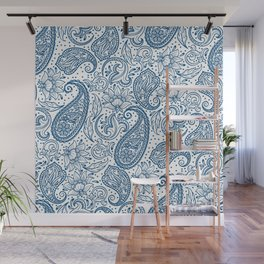 Blue ethnic ornate floral paisley pattern Wall Mural