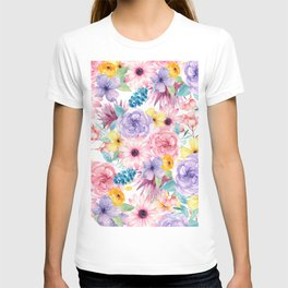 Modern elegant pink lavender yellow watercolor floral T-shirt
