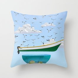 Boat and Birds Throw Pillow