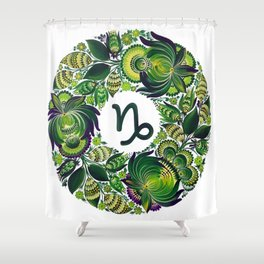 Capricorn in Petrykivka (without artist's signature/date) Shower Curtain