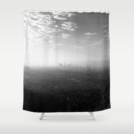 Los Angeles. L.A. Skyline. Black and White. Jodilynpaintings. Sunrise. Sunset. Cityscape. California Shower Curtain