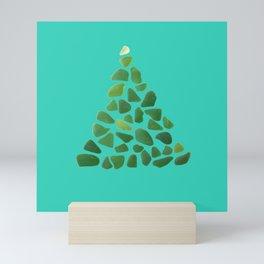 Green Sea Glass Tree on Turquoise #seaglass #Christmas Mini Art Print