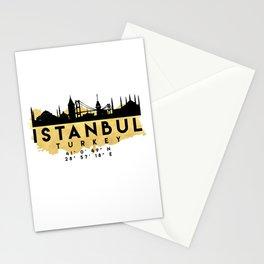ISTANBUL TURKEY SILHOUETTE SKYLINE MAP ART Stationery Cards