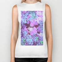shabby chic Biker Tanks featuring Roses Bountiful Shabby Chic in Purple and Blue Mosaic  by Saundra Myles