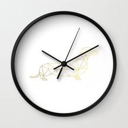 Faux Gold Foil, Gold, Geometric Dog, Wiener Dog Wall Art, Dog wall art, Wiener Print, Dachshund art Wall Clock