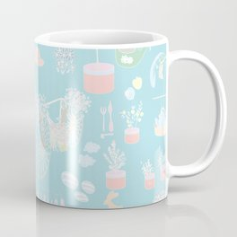 Vintage Garden on soft blue Coffee Mug