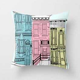 San Francisco Victorian Houses Throw Pillow